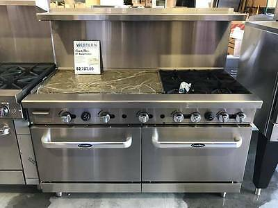 "Heavy 60"" Range 36"" Griddle 4 Burners 2 Full Ovens Stove Natural Gas"