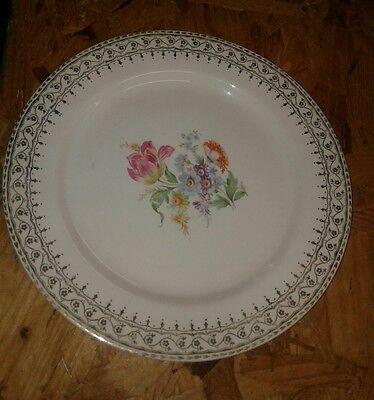 """Heritage Ware Floral Dinnerware Dinner Plate 22k Gold Accents 10"""""""
