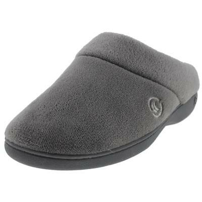 Isotoner 7825 Womens Gray Microterry Clog Slippers Shoes 8.5-9 Medium (B,M) BHFO