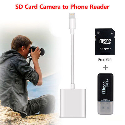 AU Lightning to SD Card Camera Reader Adapter for iPhone 7/6s iPad mini Pro Air
