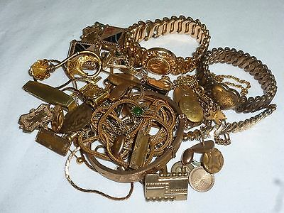 203.2 Grams Gold Filled Wristwatch Band Fobs Jewelry Scrap - 203.2 GRAMS