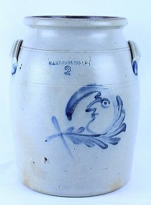 Outstanding Cowden & Wilcox 2 Gal. Blue Decorated Man In The Moon Crock