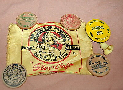'54 Sioux City IA Centennial LOT Wooden Nickels Belle Pinback, Sleep Craft Label