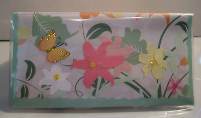 Flowers and Yellow Butterfly Checkbook Cover Handmade Heavy Vinyl Check Book
