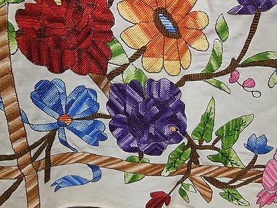 "Vtg Hand Embroidered Floral & Bows Arts & Crafts Style Linen Tablecloth 46"" x 48"