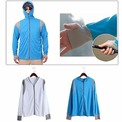 Long Sleeve Fishing Sun Shirt Quick Dry Breathable Hooded Top Sun Protection