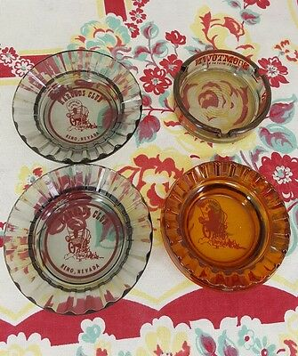 Lot of 4 vintage CASINO ASHTRAYS glass BOOMTOWN / HAROLDS CLUB Reno NV