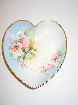 Pretty Antique Hand Painted Heart Shaped Dish With Wild Roses