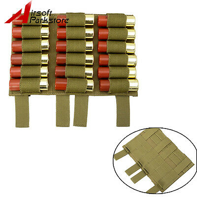 Tactical Molle 18 Rounds 12/20GA Shotgun Shell Ammo Holder Pouch For Vest Tan