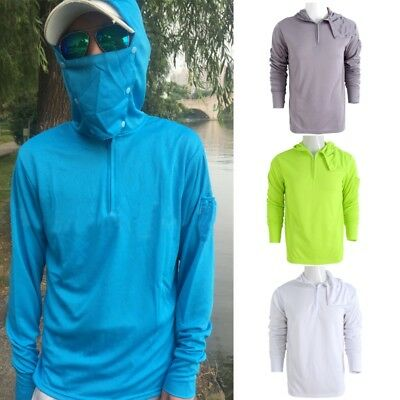 Men's Fishing Drying Breathable Shirt Clothes Removable Mask Hoodie Long Sleeve