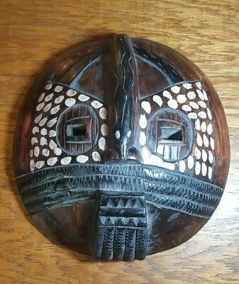 Pigment Painted African Tribal Art Tribe Congo Carved & Painted Wooden Mask