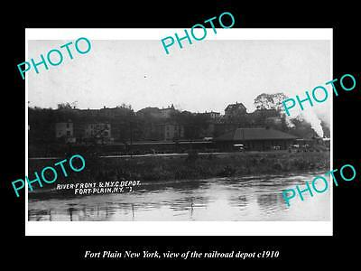 OLD LARGE HISTORIC PHOTO OF FORT PLAIN NEW YORK, THE RAILROAD DEPOT c1910