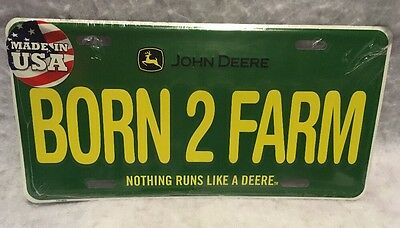 John Deere Born 2 Farm License Plate Free Shipping