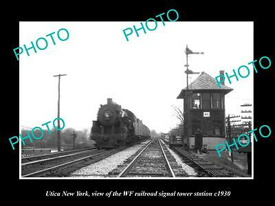 OLD HISTORIC PHOTO OF UTICA NEW YORK, THE WF RAILROAD SIGNAL TOWER c1930