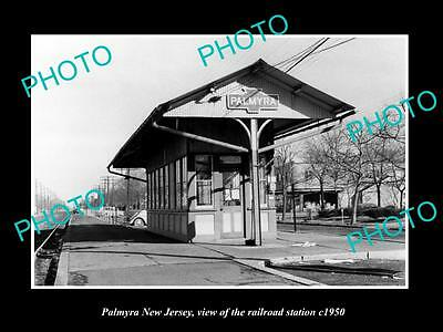 OLD LARGE HISTORIC PHOTO OF PALMYRA NEW JERSEY, THE RAILROAD DEPOT STATION c1950