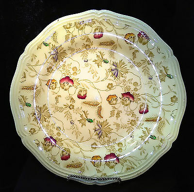 "Poppyland Plate 10"" XLT Wood & Sons Red+Yellow Poppies Embossed Scalloped Cream"