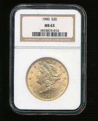 1900-P $20 Gold Liberty Head Twenty Dollar Gold Double Eagle NGC MS 63 RARE