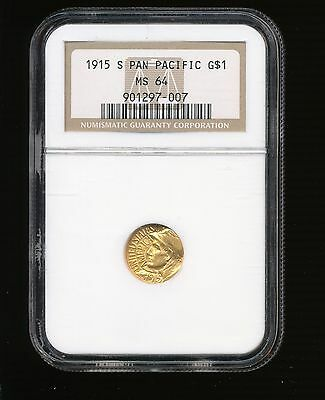 1915-S Panama-Pacific Gold Dollar Commemorative $1 NGC MS 64 RARE LOW MINTAGE