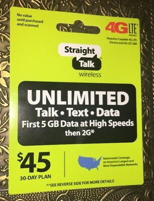 Straight Talk Refill Card 30 Day $45 Prepaid Unlimited Service Top Up Phone