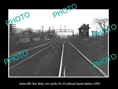 OLD LARGE HISTORIC PHOTO OF JOHNSVILLE NEW YORK, No22 RAILROAD SIGNAL TOWER 1930