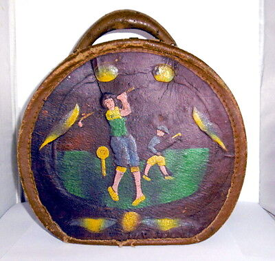 Vintage Or Antique Leather Hat Box Hand Painted Golf Woman & Caddy Unusual