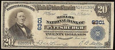 Large 1902 $20 Dollar Bill Pittsburgh National Bank Note Currency Paper Money