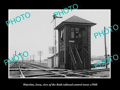 OLD LARGE HISTORIC PHOTO OF WATERLOO IOWA, THE RAILROAD DEPO CONTROL TOWER c1960