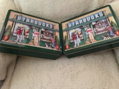 1999 Starbucks Tin 3D Raised Replica 1st Store Seattle's Pike Place Mkt Lot Of 2