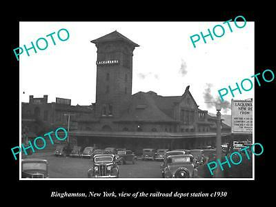OLD LARGE HISTORIC PHOTO OF BINGHAMTON NEW YORK THE RAILROAD DEPOT STATION c1930