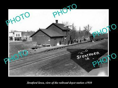 OLD LARGE HISTORIC PHOTO OF STRATFORD IOWA, THE RAILROAD DEPOT STATION c1910 1