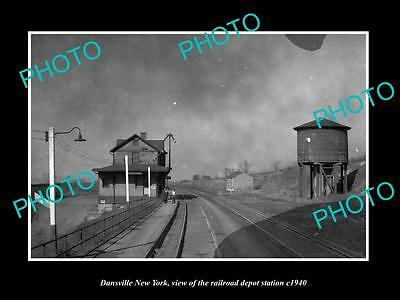 OLD LARGE HISTORIC PHOTO OF DANSVILLE NEW YORK, THE RAILROAD DEPOT STATION c1940