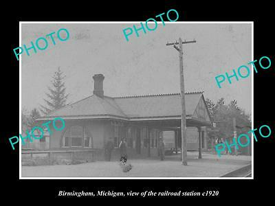 OLD LARGE HISTORIC PHOTO OF BIRMINGHAM MICHIGAN, THE RAILROAD STATION c1920