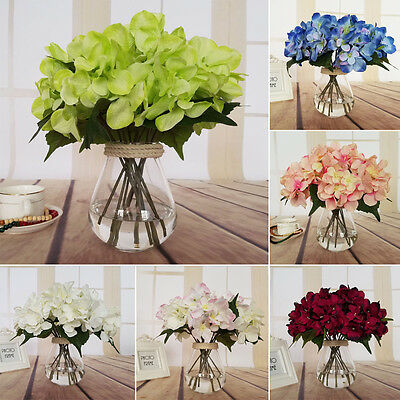 6 Têtes Marriage Artificiel Hortensia Soie Flower Maison Fête Bouquet Décor MAD