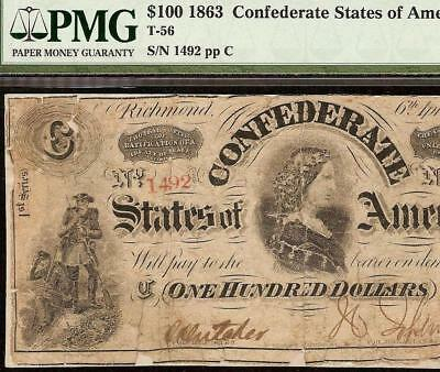 1863 $100 Dollar Bill Civil War Confederate States Red Number Note T-56 Pmg