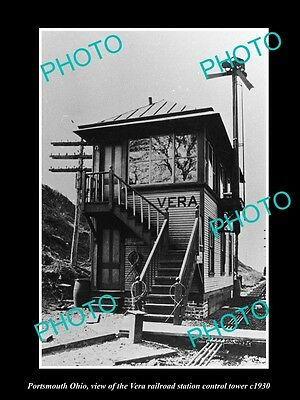 Old Large Historic Photo Of Portsmouth Ohio, The Vera Railroad Signal Tower 1930