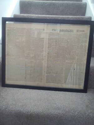 Framed The Times Broadsheet 3 Oct 1798 feat. Lord Nelson & victory over Napoleon