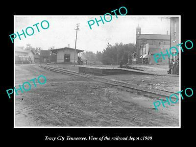 OLD LARGE HISTORIC PHOTO OF TRACY CITY TENNESSEE, THE RAILROAD STATION c1910