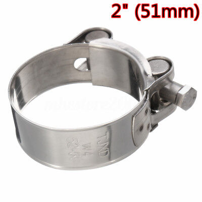 "Universal Motorcycle 2"" 51mm Band Exhaust Pipe Clamp Calipers Stainless Steel"