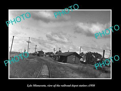 OLD LARGE HISTORIC PHOTO OF LYLE MINNESOTA, THE RAILROAD DEPOT STATION c1950
