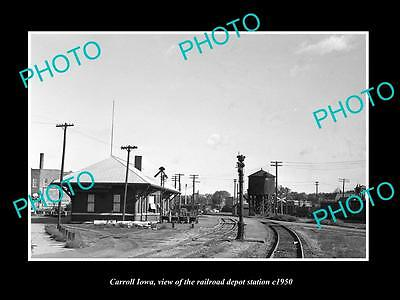 OLD LARGE HISTORIC PHOTO OF CARROLL IOWA, THE RAILROAD DEPOT STATION c1950