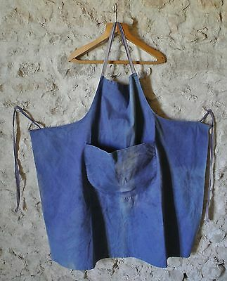 Vintage French Apron Work Wear Faded Blue Cotton Circa 1930 Artisan Artist Bib