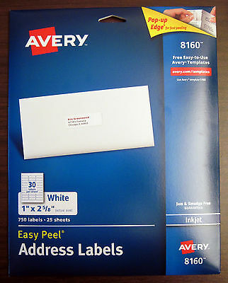 "Avery 8160 White Inkjet Address Labels (1"" x 2 5/8"") Box 750 (50-100-500-1000)"