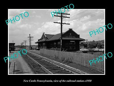 OLD LARGE HISTORIC PHOTO OF NEW CASTLE PENNSYLVANIA, THE RAILROAD STATION c1950