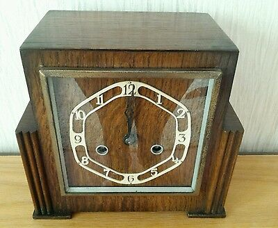 Wooden Chiming Wind-Up Art Deco Large Mantle Clock Working Needs Pendulum!