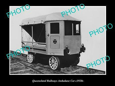 OLD LARGE HISTORIC PHOTO OF QUEENSLAND RAILWAYS AMBULANCE CAR 1920s