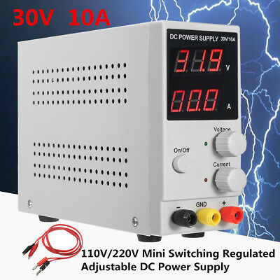 DC 30V 10A Adjustable Switching Regulated Power Supply LCD Dual Digital Display