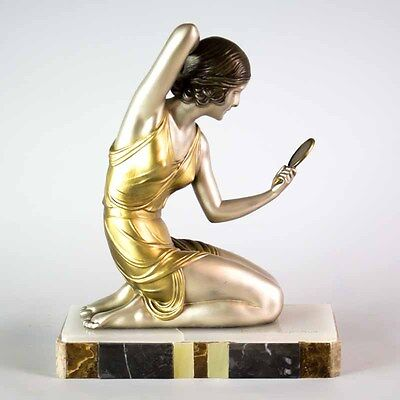 CHIPARUS  FRENCH ART DECO SCULPTURE - STATUE LADY WITH  MIRROR. SIGNED. 1930's
