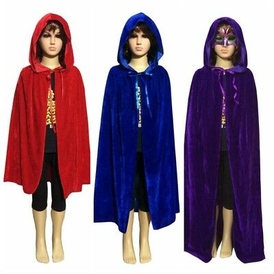 A37 Children Hooded Velvet Cape Cloak Halloween Fancy Dress Robe Costume S M L