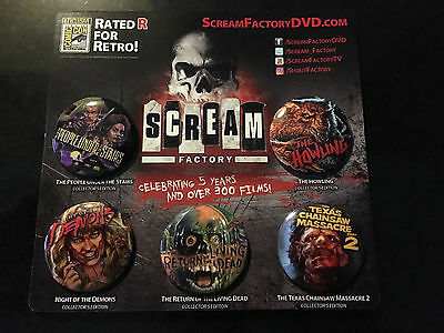 SDCC 2017 EXCLUSIVE SCREAM FACTORY PROMO BUTTON SET OF 5 Living Dead Howling