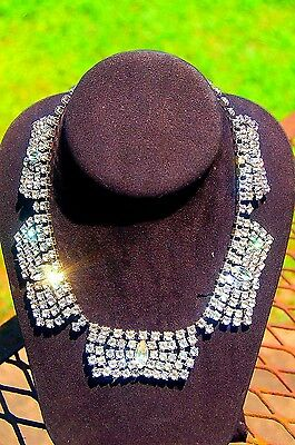 Vintage 'Kramer of New York' Rhinestone Necklace-Early Piece-Ca. late 1940s-50s!